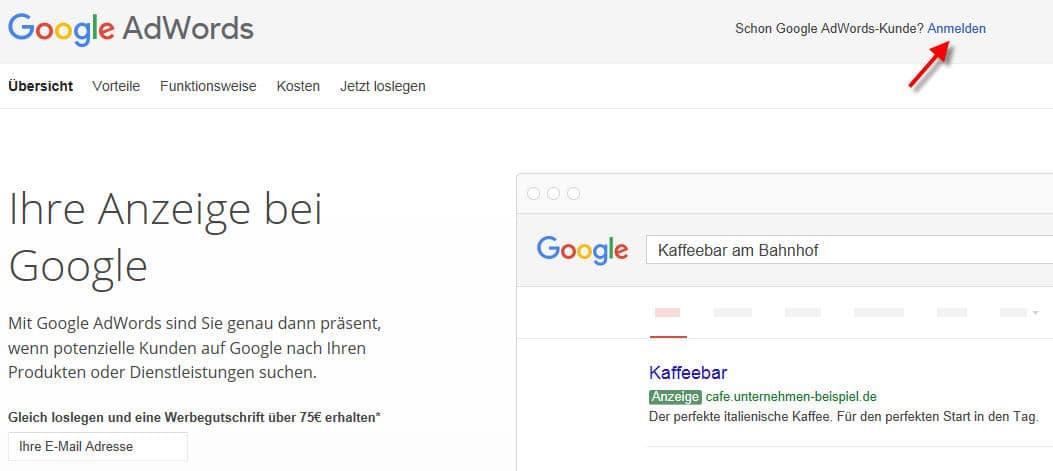 Registrieren für Google Adwords Konto