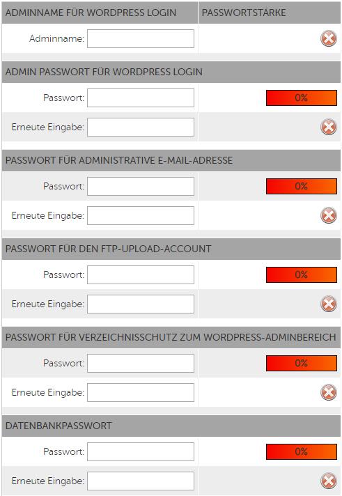 Hosteurope Admin & Passwörter für WordPress