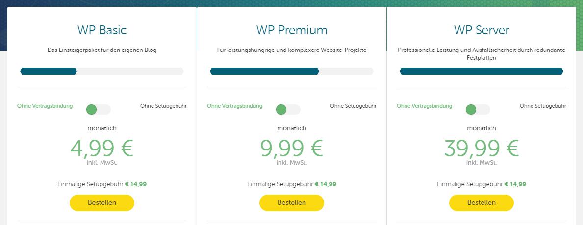 Hosteurope Bloghosting WordPress Pakete