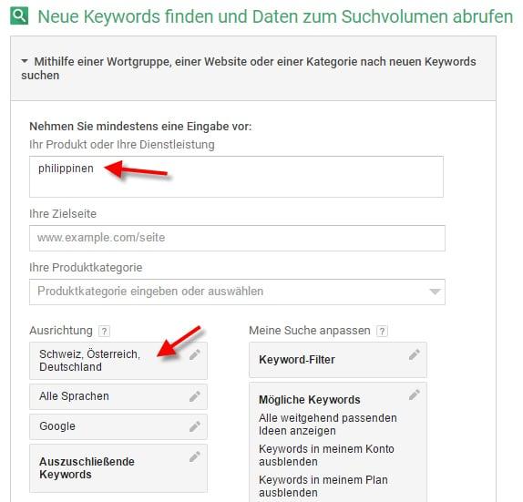 Keyword Recherche - Keyword eingrenzen