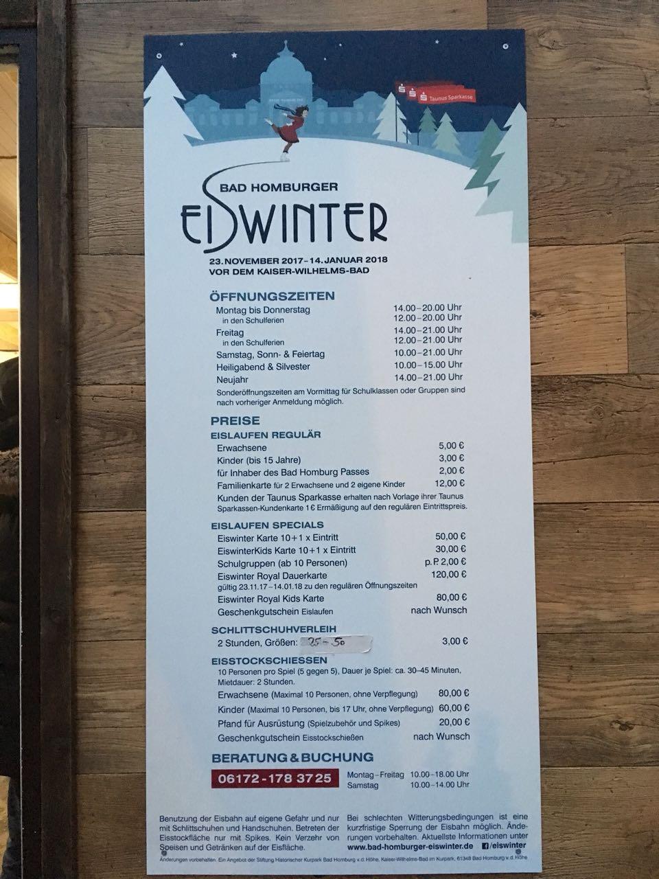 Eislaufbahn Preise Bad Homburg bei Frankfurt