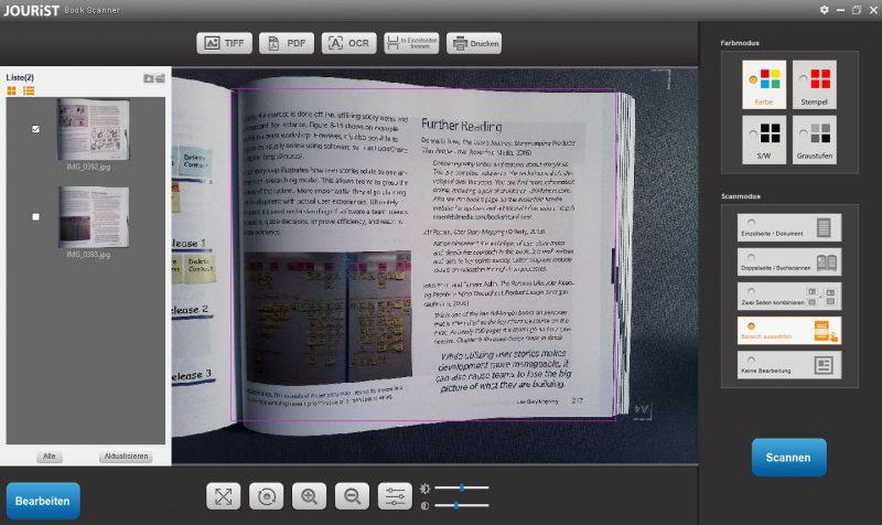 Jourist DC80 Buch Scanner Software